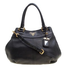 Prada Black Pebbled Leather Sacca 2 Manici Shoulder Bag