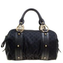 Gucci Black GG Canvas Interlocking Boston Bag