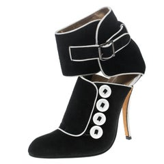 Manolo Blahnik Black/White Suede and Fabric Rapacina Button Detail Booties Size