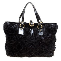 Valentino Black Fabric and Patent Leather Flower tote