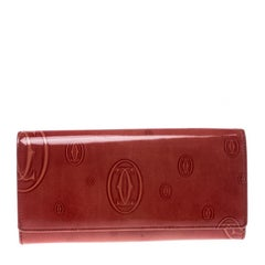 Cartier Red Leather Double C Logo Continental Wallet