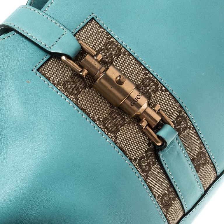 d6de8196d Gucci Turquoise Leather and GG Canvas Jackie O Hobo In Excellent Condition  For Sale In Dubai