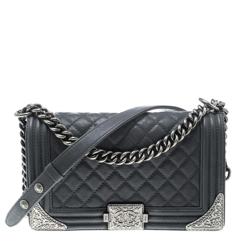 Chanel Pale Blue Quilted Leather Medium Paris Dallas Boy Flap Bag For Sale 14a1ca99f1137