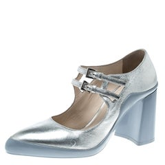Prada Metallic Silver Leather Dual Strap Block Heel Mary Jane Pumps Size 38