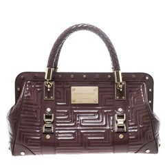 Versace Dark Beige Quilted Patent Leather Snap Out of It Satchel