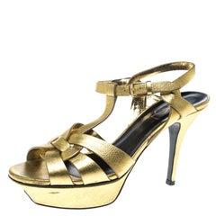 Saint Laurent Paris Metallic Gold Leather Tribute Platform Sandals Size 37.5