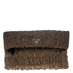 Prada Brown Cloquet Fabric Folders Clutch