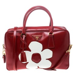Prada Red and White Saffiano Vernice Patent Leather Bauletto Flower Top handle