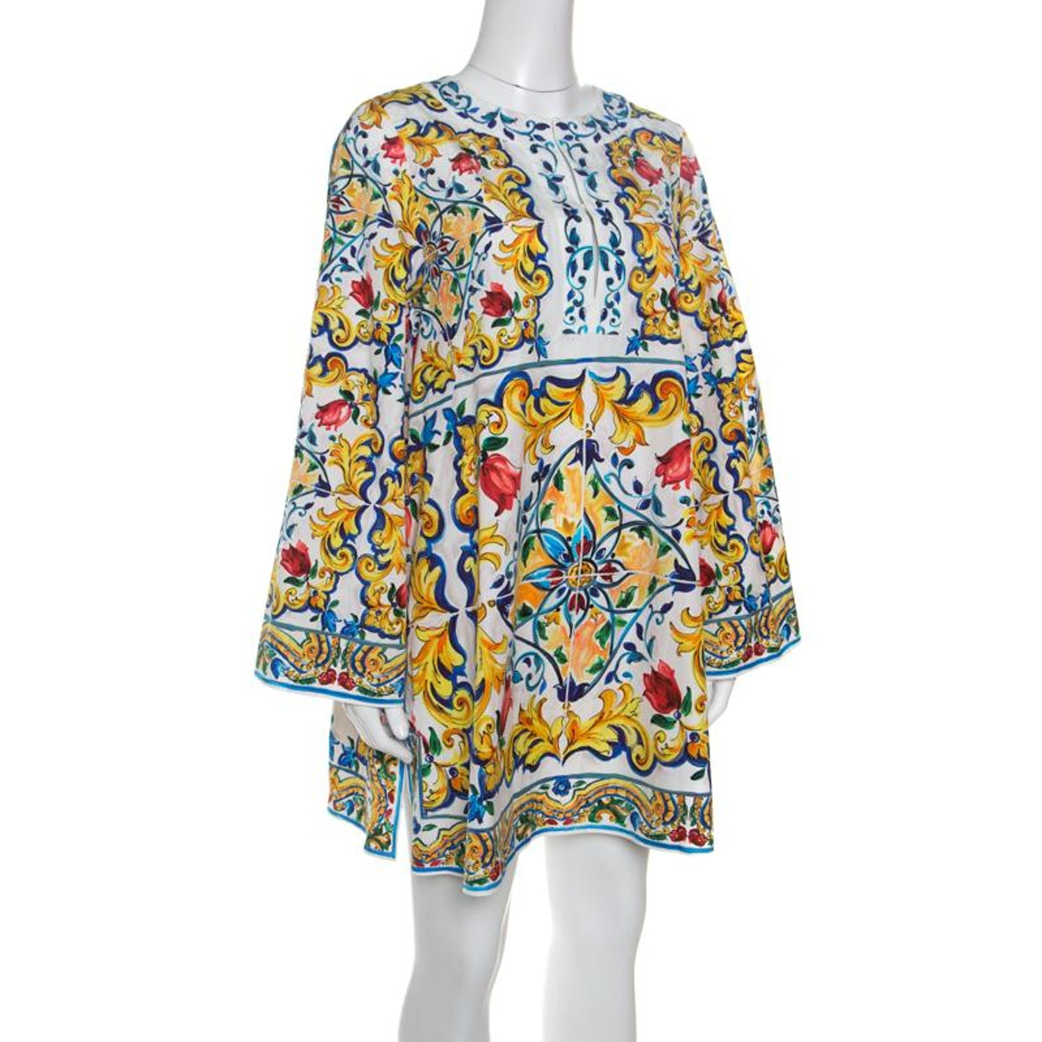 2b208c70f9 Dolce and Gabbana Majolica Printed Cotton Bell Sleeve Kaftan Dress S For  Sale at 1stdibs