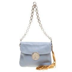 Prada Pale Blue/Beige Leather Tassel Shoulder Bag