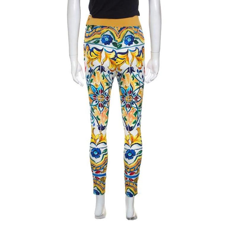 Beige Dolce and Gabbana Majolica Printed Silk Elasticized Waist Skinny Pants S For Sale