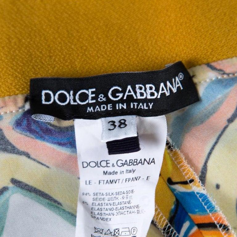 Women's Dolce and Gabbana Majolica Printed Silk Elasticized Waist Skinny Pants S For Sale