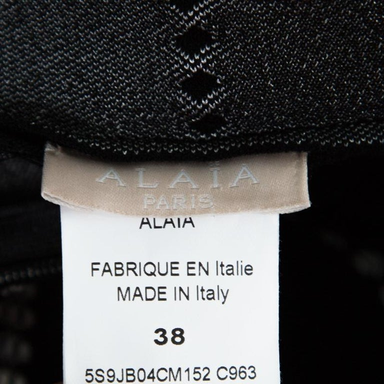 Women's Alaia Monochrome Embossed Jacquard Knit High Waist Mini Skirt M For Sale