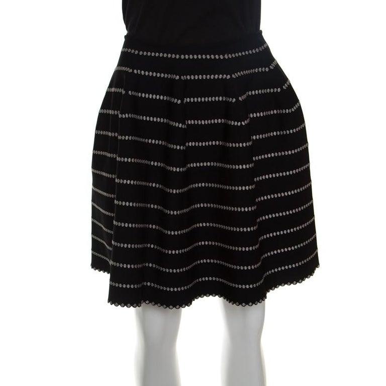 Black Alaia Monochrome Embossed Jacquard Knit High Waist Mini Skirt M For Sale
