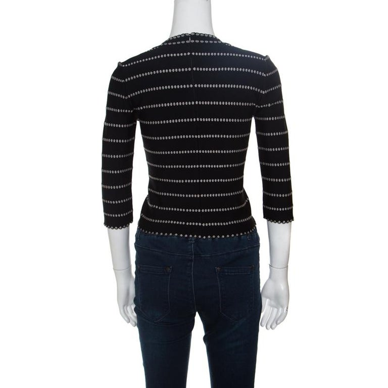 Black Alaia Monochrome Embossed Jacquard Knit Long Sleeve Top M For Sale