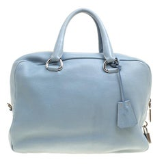 Prada Dusty Blue Vitello Diano Leather Bowler Bag