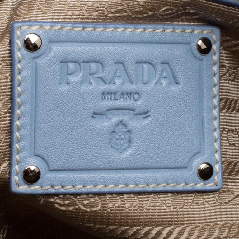 f346673e21b7d5 Prada Dusty Blue Vitello Diano Leather Bowler Bag For Sale at 1stdibs