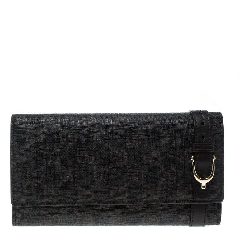 32a55323ccb9 Gucci Dark Brown GG Supreme Canvas Nice Continental Wallet For Sale ...