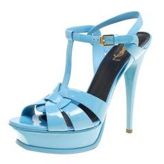 Saint Laurent Sky Blue Patent Leather Tribute Platform Sandals Size 41