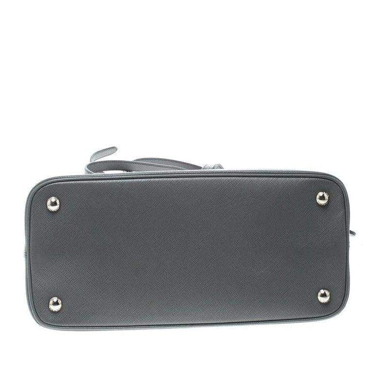 59636aed5c91ae Prada Grey Saffiano Leather Open Promenade Top Handle Bag In Good Condition  For Sale In Dubai