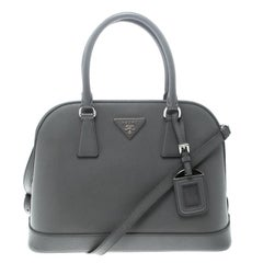 Prada Grey Saffiano Leather Open Promenade Top Handle Bag