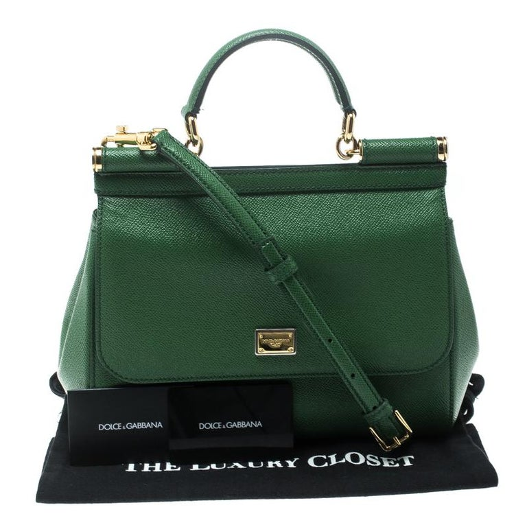 Dolce and Gabbana Green Leather Medium Miss Sicily Top Handle Bag For Sale 1 5907088854