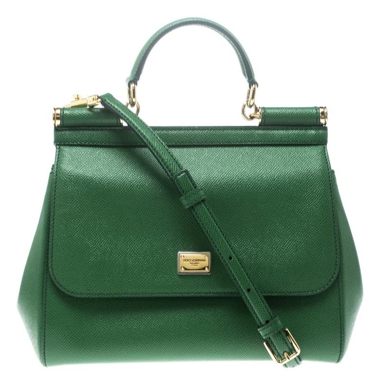 eeab11251a74 Dolce and Gabbana Green Leather Medium Miss Sicily Top Handle Bag For Sale  at 1stdibs