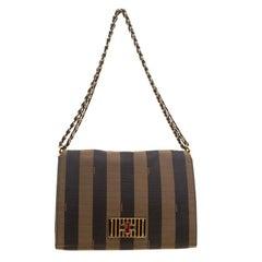 Fendi Tobacco Canvas Large Pequin Stripe Claudia Shoulder Bag