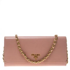Prada Pink Saffiano Metal Leather Wallet on Chain
