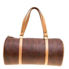 Etro Brown Paisley Printed Coated Canvas Boston Bag