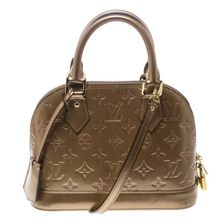 8384dc2a5ee5 Louis Vuitton Noisette Monogram Vernis Alma Bb Bag For Sale At 1stdibs