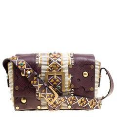 Valentino Burgundy Leather Painted Studs Box Bag