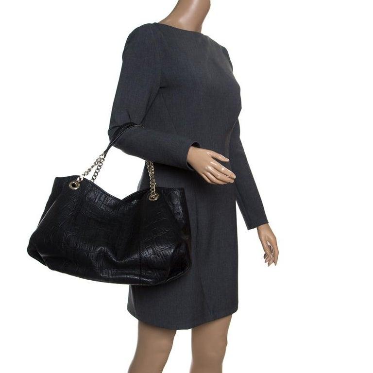 c4ab245a9111 Carolina Herrera Black Monogram Leather Shoulder Bag In Good Condition For  Sale In Dubai