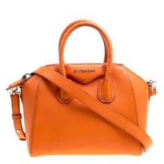 Givenchy Orange Leather Mini Antigona Satchel