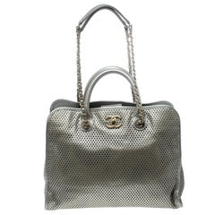 Chanel Metallic Grey Perforated Leather Up In The Air Tote