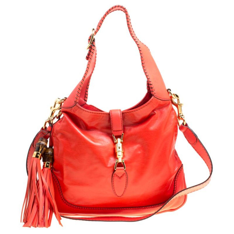 d71822a45 Gucci Orange Leather Medium New Jackie Shoulder Bag For Sale at 1stdibs