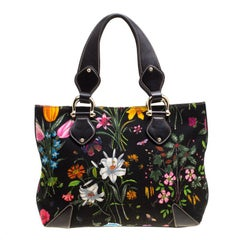 Gucci Black Floral Print Canvas Tote