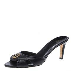 Gucci Black Leather Cellarius GG Logo Slides Sandals Size 38.5