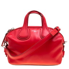 Givenchy Red Leather Micro Nightingale Crossbody Bag