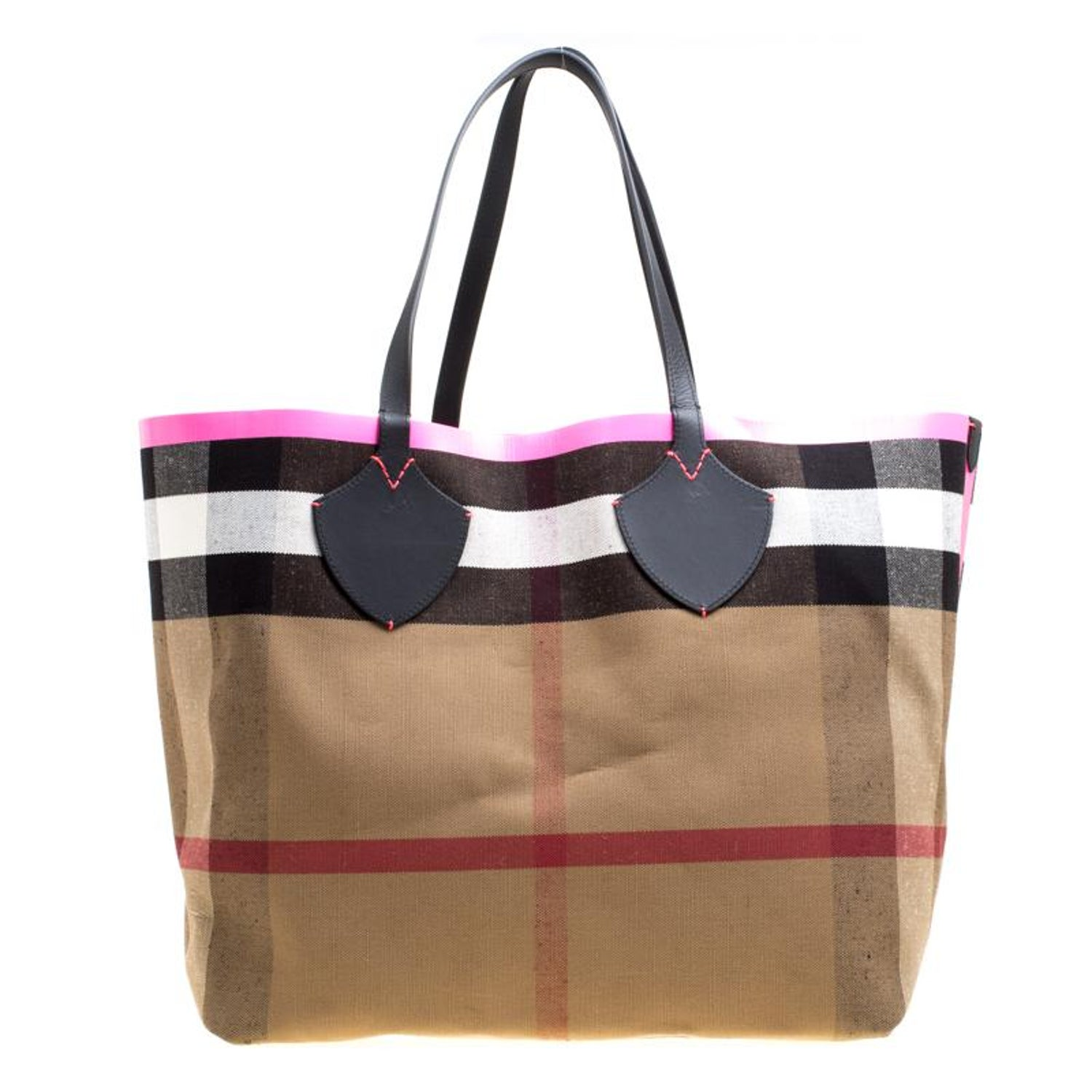 Burberry Black Neon Pink Canvas And Leather XL Reversible Tote For Sale at  1stdibs 1fa0920619