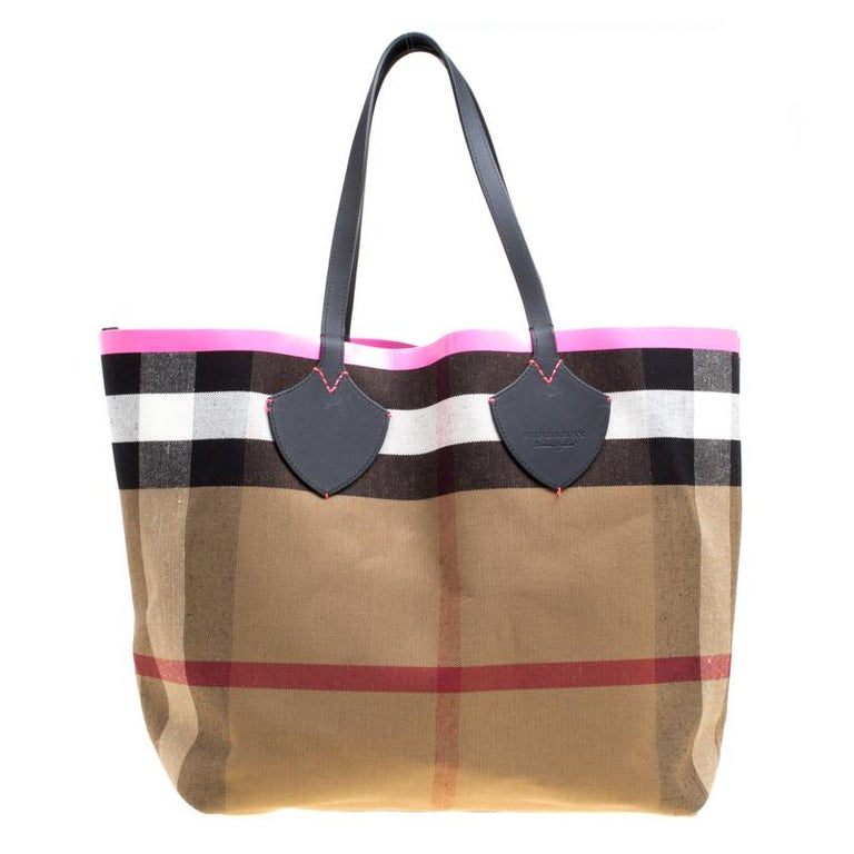 e243a1da810a Burberry Black Neon Pink Canvas And Leather XL Reversible Tote For Sale