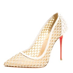 Christian Louboutin Off White Mesh and Spike Embellished Patent Leather Trimmed