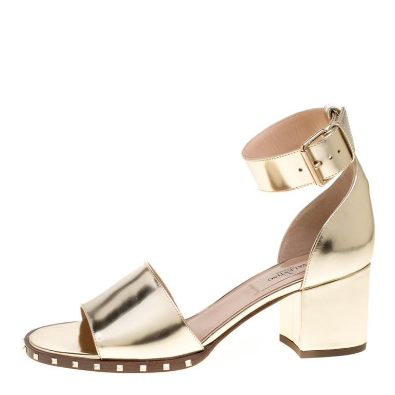 59be2d80bb33 Valentino Gold Leather Soul Rockstud Ankle Strap Block Heel Sandals Size  37.5 For Sale