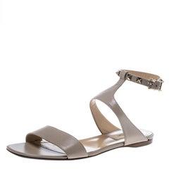 Valentino Beige Leather Rockstud Ankle Strap Flat Sandals Size 37