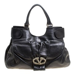 Valentino Black Leather Crystal Embellished Logo Satchel