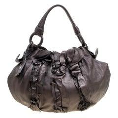 Prada Metallic Brown Leather Ruffle Hobo