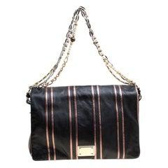 Dolce and Gabbana Black/Pink Leather Stripe Miss Charles Shoulder Bag