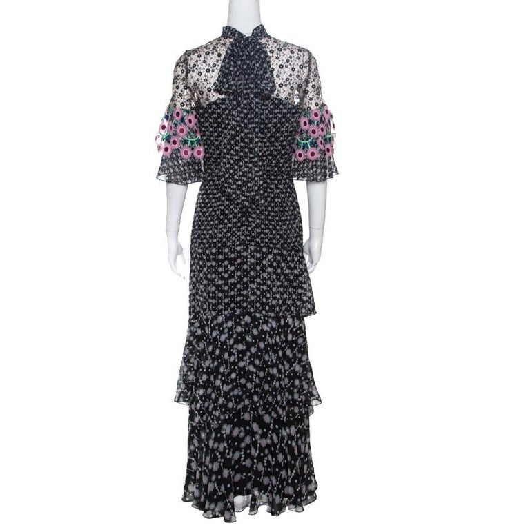 Peter Pilotto Black Floral Print Lace Paneled Ruffled Silk Georgette
