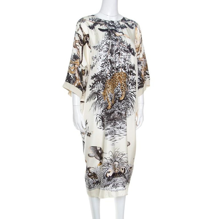 Gray Hermes Cream Jungle Love Print Silk and Cashmere Tunic Dress M For Sale