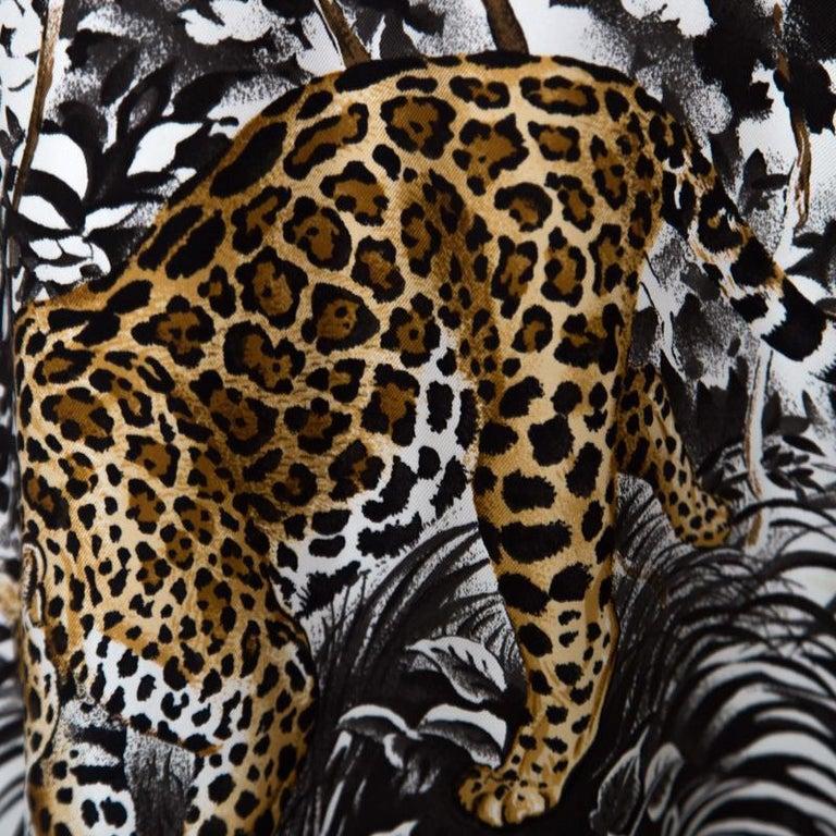 Hermes Cream Jungle Love Print Silk and Cashmere Tunic Dress M For Sale 1